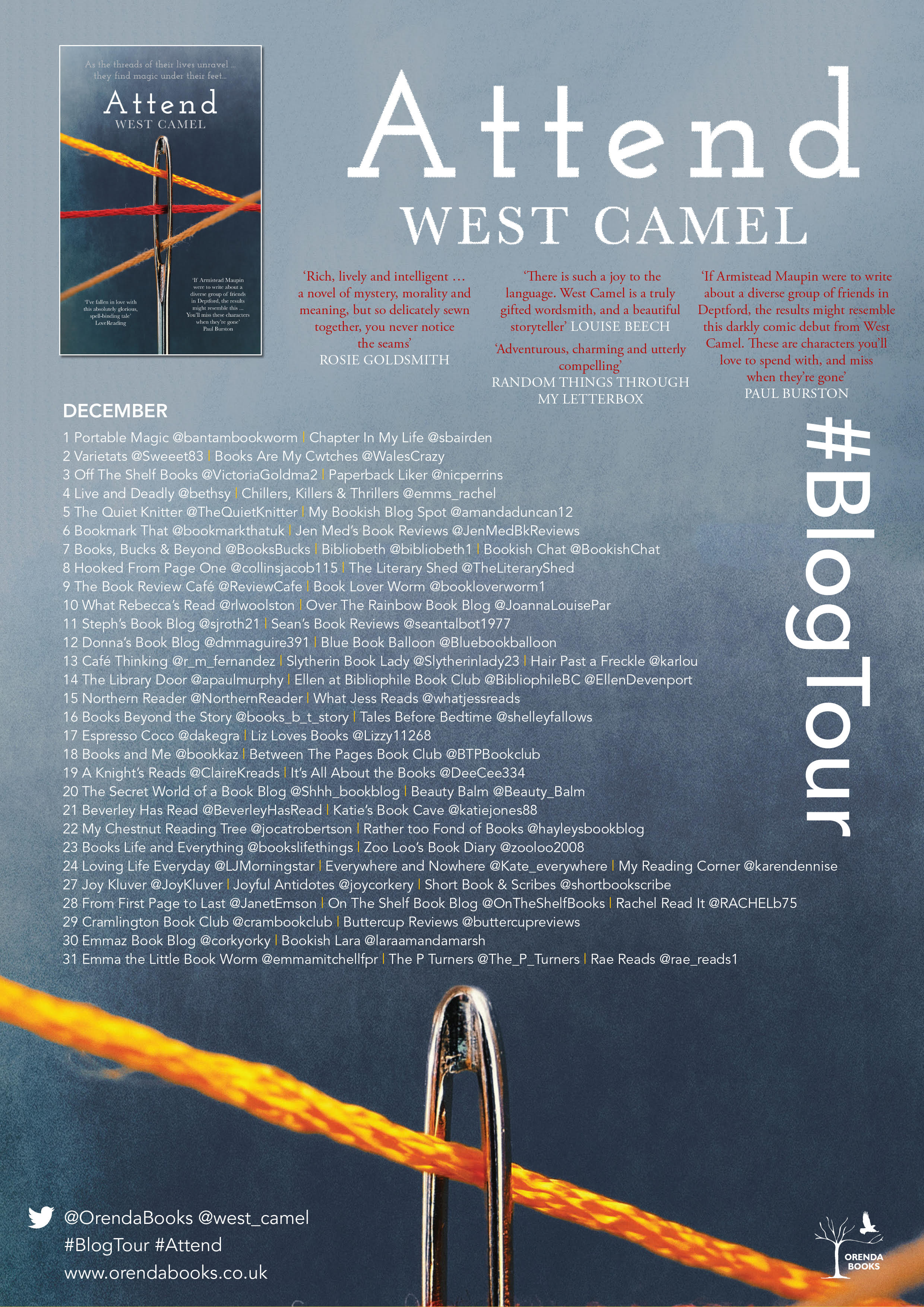 A poster showing the names of all the bloggers posting about this book and the dates on which they will be doing so.