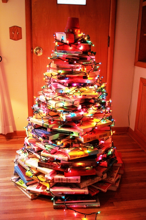 Xmas tree made of books with lights