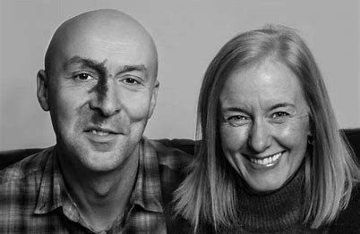 Photo of Chris Brookmyre and Marisa Haetzman who comprise Ambrose Parry