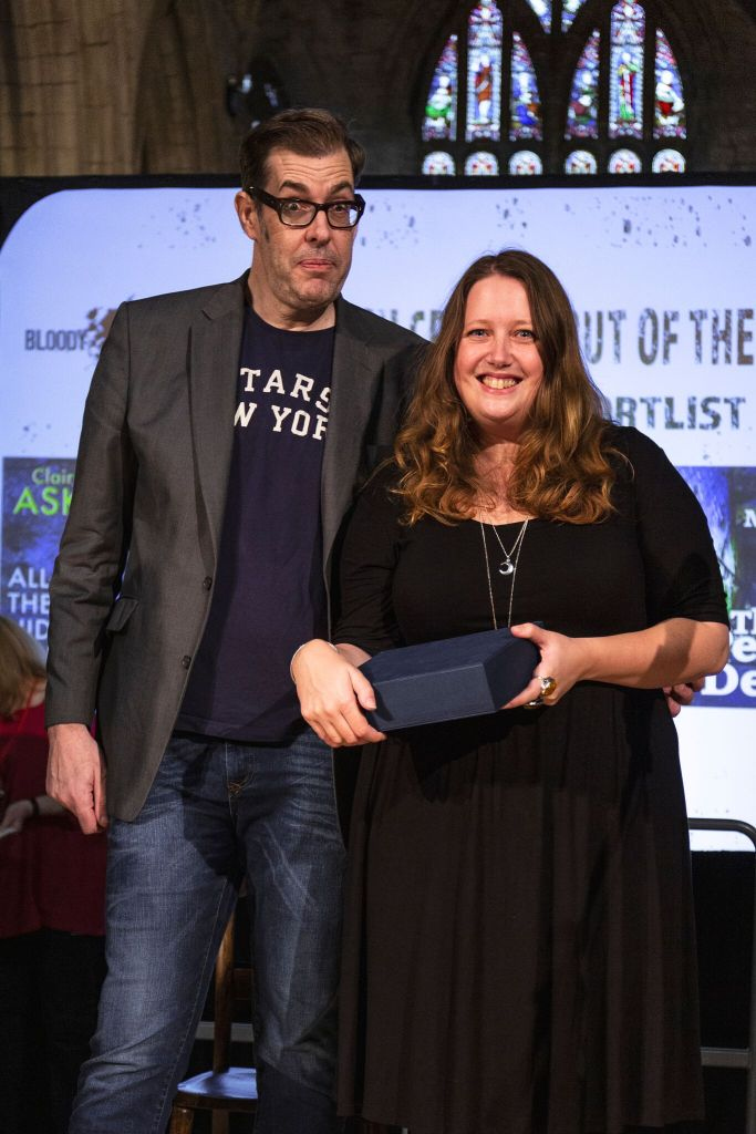 Debut Prize winner Claire Askew with Richard Osman