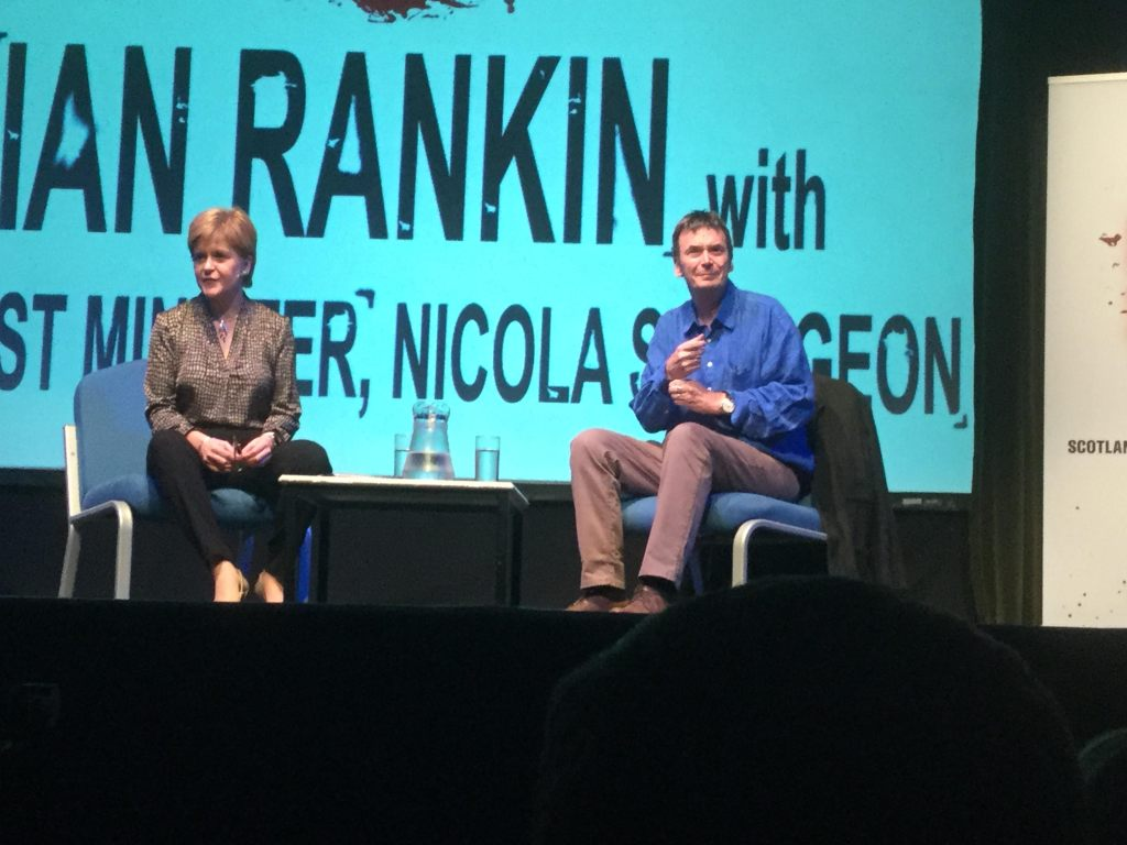 First Minister Nicola Sturgeon interviewing Ian Rankin