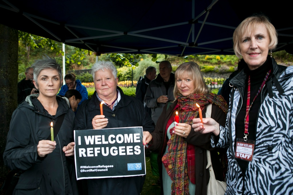 Denise Mina, Val McDermid, Alex Gray and Lin Anderson supporting the Europe sees Syria Campaign at Bloody Scotland in 2015.