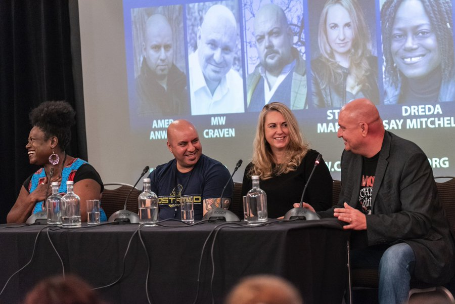 Photo of Dreda Say Mitchell, Amer Anwar, Stephanie Marland and Mike Craven