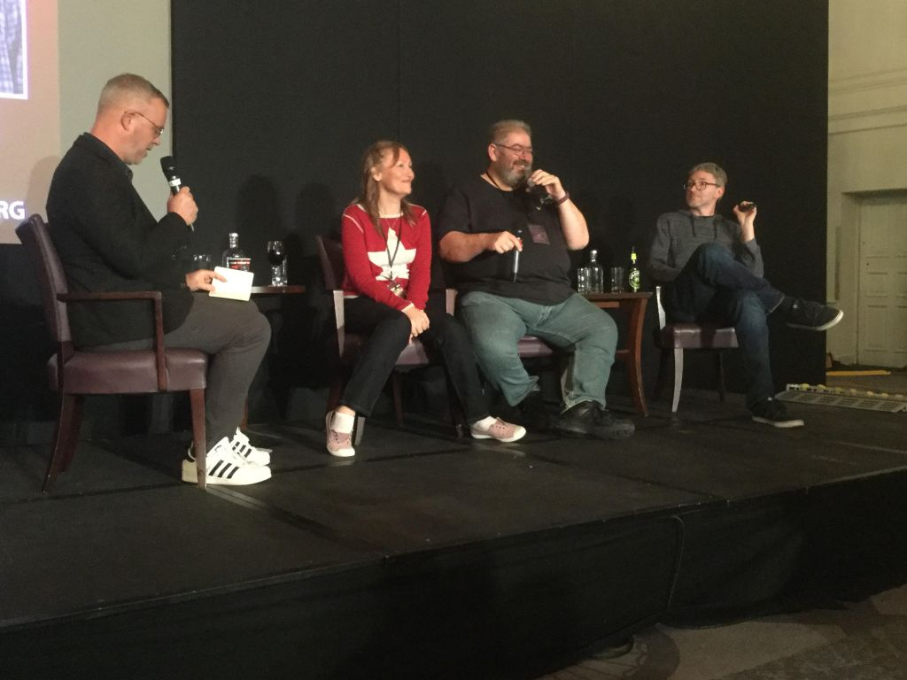 Photo of J.D.Fennell with Sarah Pinborough, Ben Aaronovitch and Stuart Turton