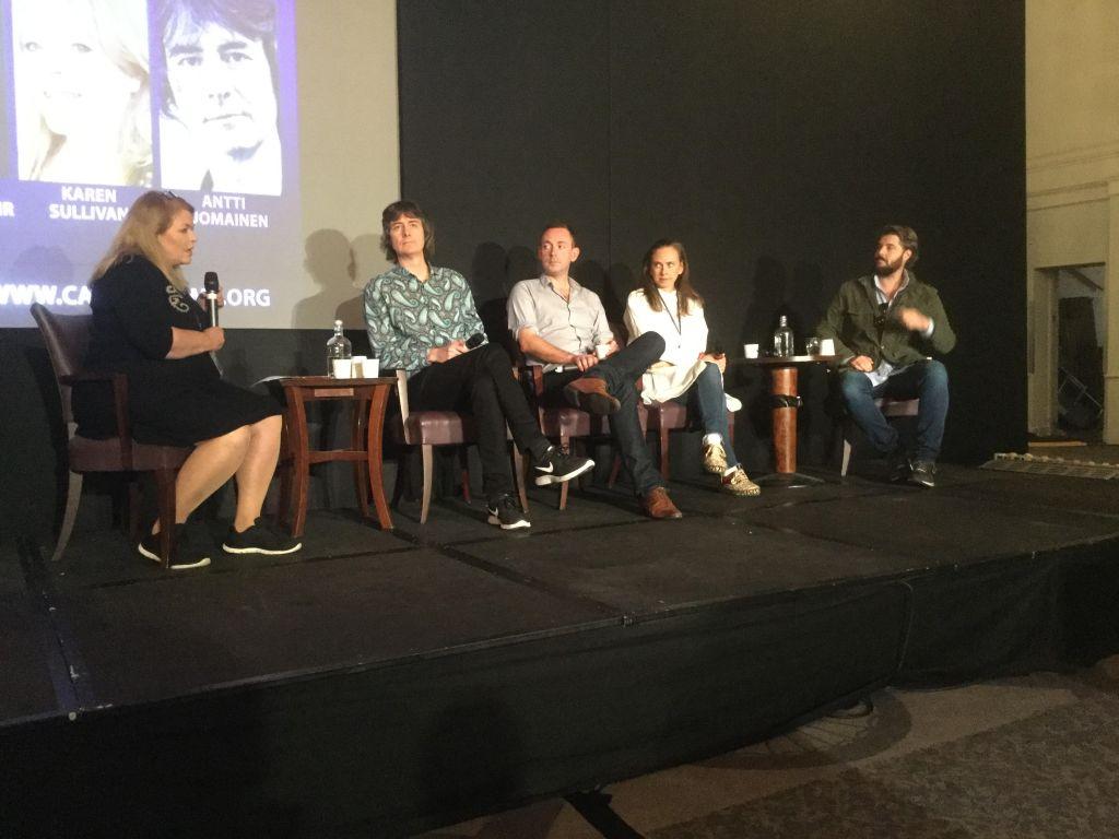 Photo of Karen Sullivan, Antti Tuomainen, Ragnar Jonasson Yrsa Sigurdardottir and Will Dean